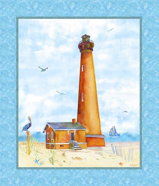 Maritime Stoffe maritime stoffe leuchtturm panel möwen strand maritim patchworkstoff