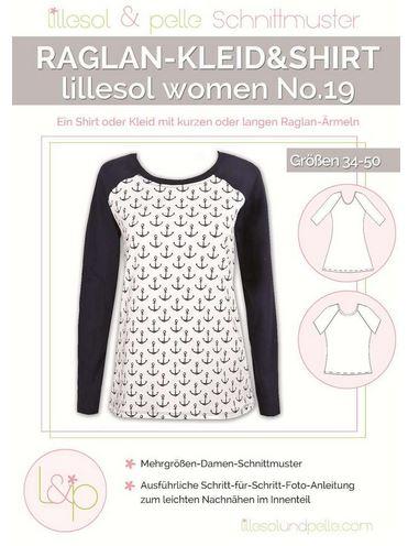 Raglan Kleid & Shirt No 19 Damen 34 50 Nähanleitung Schnittmuster Lillesol