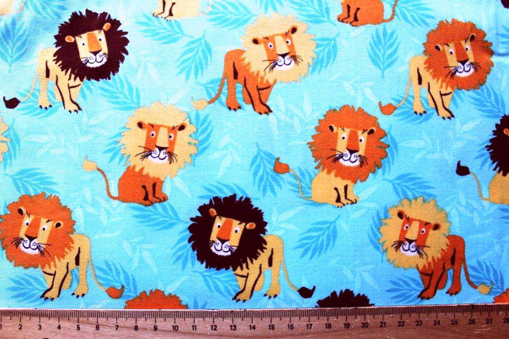 Kinderstoff, Tiermotivstoff: Löwe Kinderstoff blau Patchworkstoff