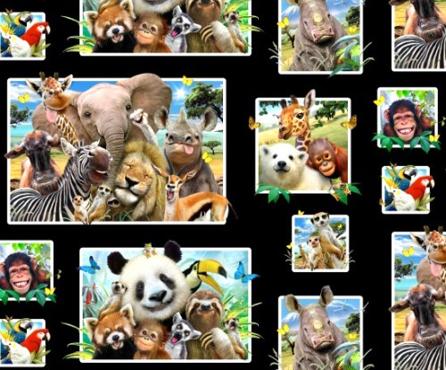 Tiere Safari Zoo Patchworkstoff Panel