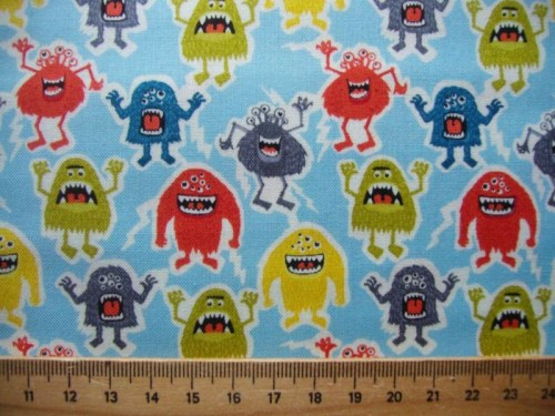 Monster blau Patchworkstoff