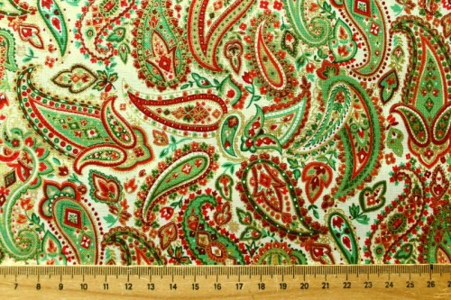 Paisley rot grün gold beige Patchworkstoff