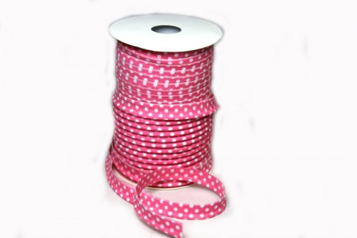 Paspelband rosa pink weiß Punkte 10 mm