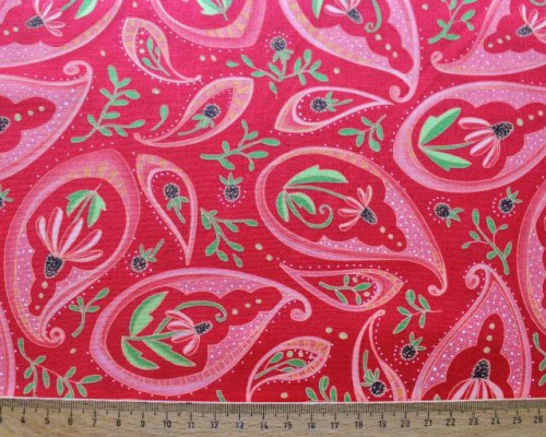Paisey rot pink Blüten Patchworkstoff