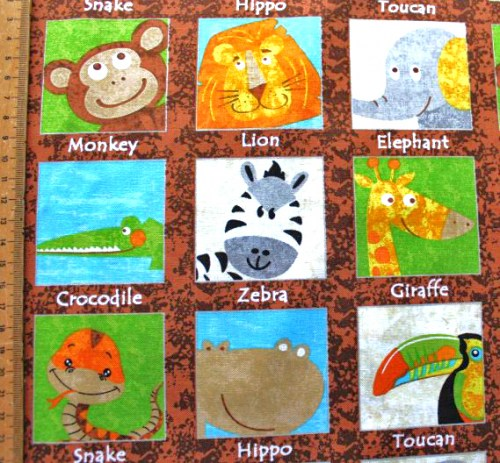 Tiere Safari Panel Kinderstoff