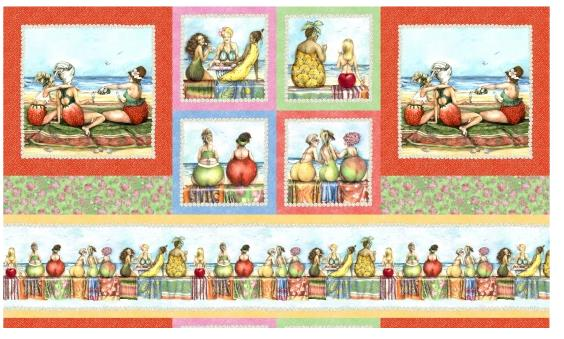 Fruit Ladies Panel Patchworkstoff